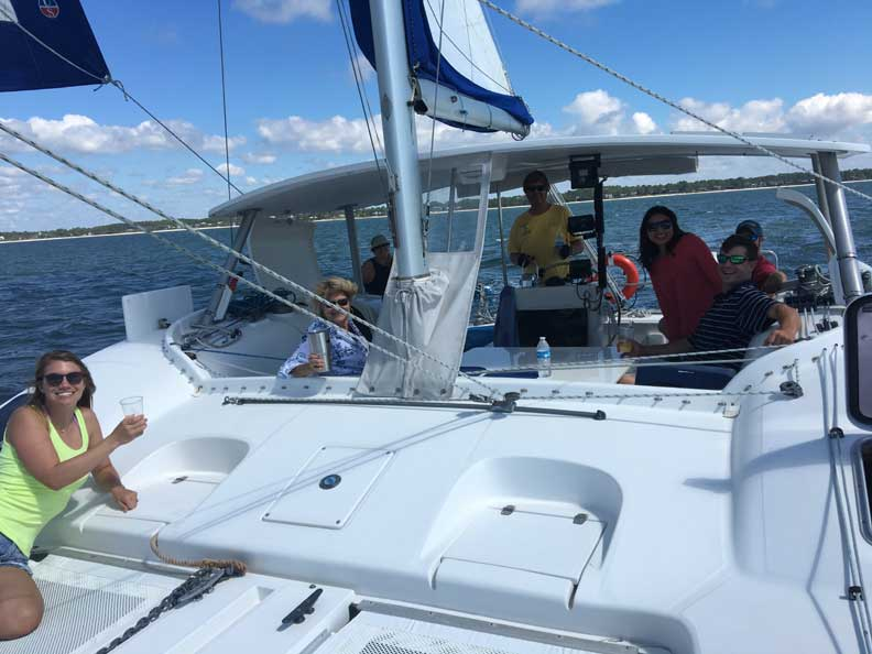 Catamaran Sailboat Family day