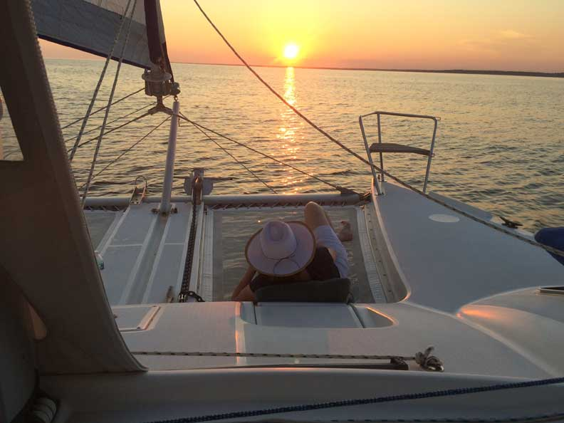 Catamaran Sailboat sunset